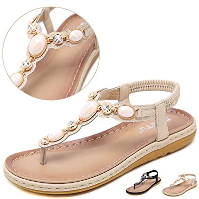 ea55fd6fa Amazon.com  Yozai Womens Summer Flat Rhinestones Flip-Flops Jeweled ...