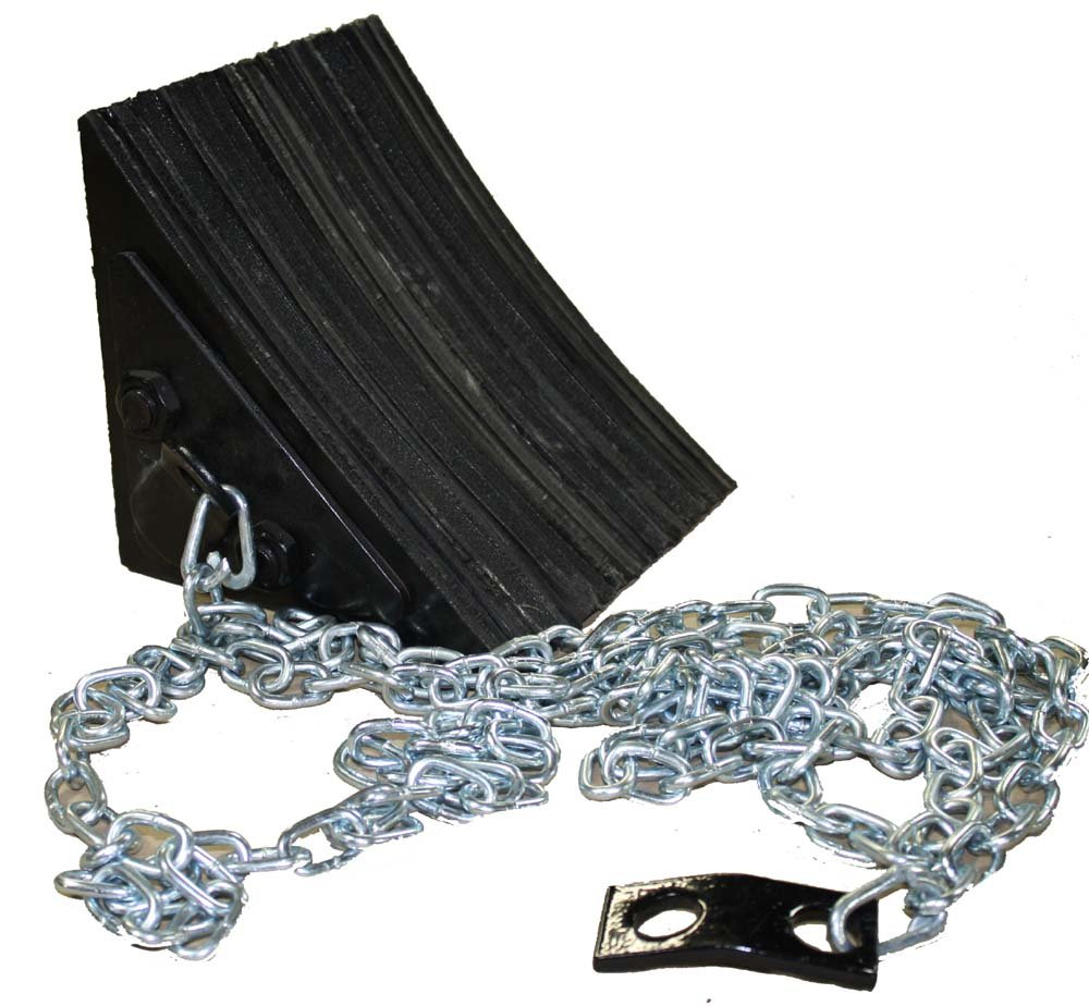 Durable Corporation Black Laminated Wheel Chock with 12' Attached Chain and Mounting , 8'' Length x 8'' Width x 8'' Height