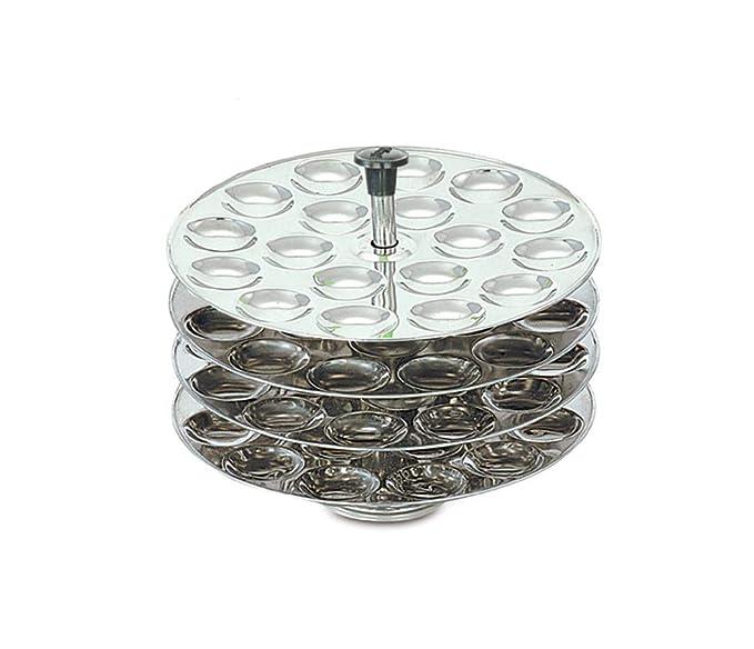 eKitchen Diamond Maxima Stainless Steel Mini Idli Plates   4 Plates  72 Mini Idlis  Steamers   Idli Makers