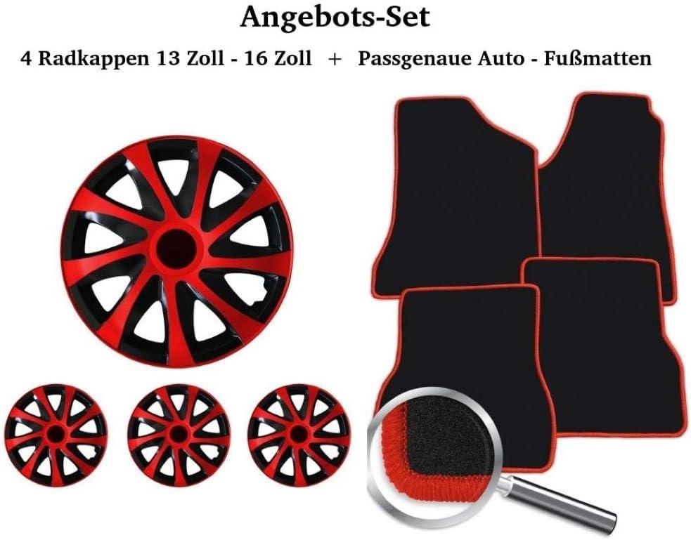 Auto Fußmatten Set Schwarz Rot Inklusive 4 Stück Radkappen 13 14 15 16 Fahrzeug In Der Beschreibung Auto
