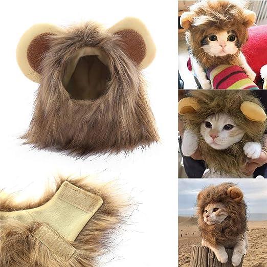POPETPOP Gato Melena de león - Gato Disfraz de Halloween Pelo de león Elegante Ropa de Gato