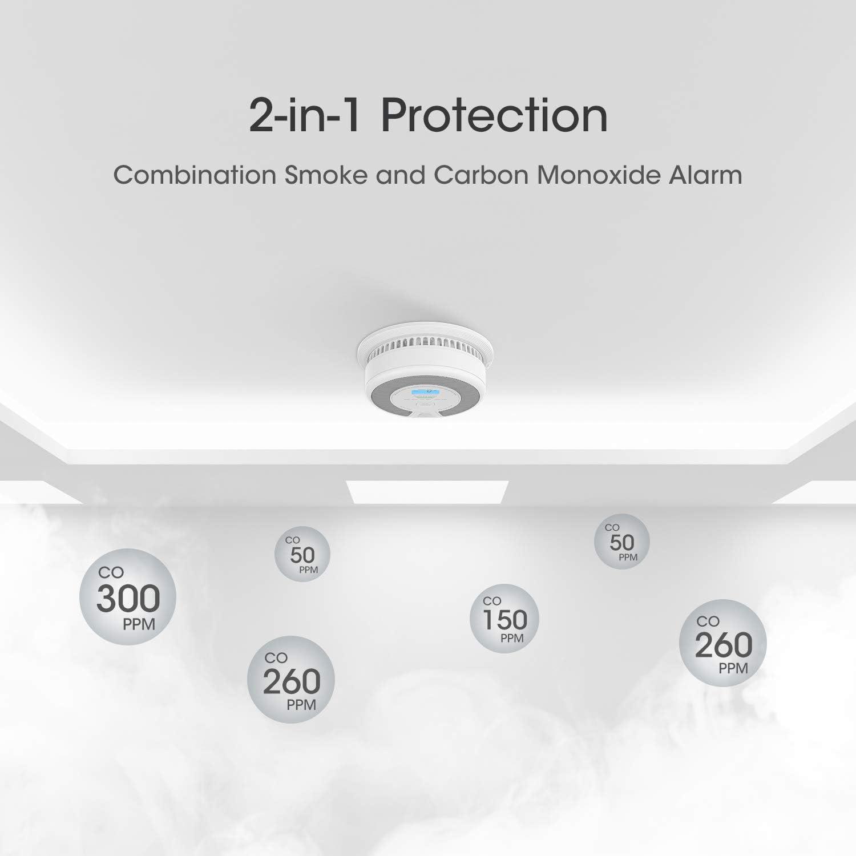 X-Sense D/étecteur combin/é Photo-/électrique de fum/ée et de monoxyde de Carbone avec Pile int/égr/ée d/'Une dur/ée de Vie de 10 Ans