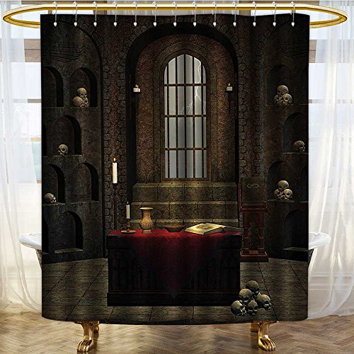 Gothic Skull Candle Stands - PRUNUSHOME Gothic House Decor Shower Curtain Set Fantasy Theme Spell Casting Warlock Witch Skulls on Shelves Candles Spooky Scenery Bathroom Accessories Extralong Red Brown/W48 x L72