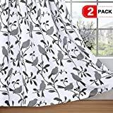 H.VERSAILTEX Elegant Natural Feeling Curtains Thermal Insulated Blackout Drape Home Décor Beautiful Window Treatment for Bedroom – 52 inch Width by 96 inch Length- Set of 2 Panels- Gray Birds Pattern Review