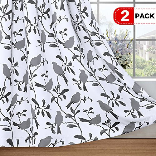 H.VERSAILTEX Thermal Insulated Blackout Curtains Energy Smart Saving Easy Care Grommet Panels for Living Room- 52 inch Width by 63 inch Length- Set of 2 Panels- Gray Birds ()