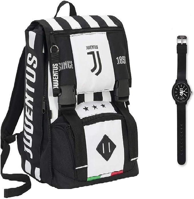 100/% Originale Juventus Zaino Sdoppiabile Big Orologio in Omaggio Collezione Scuola 2020//2021 100/% Prodotto Ufficiale