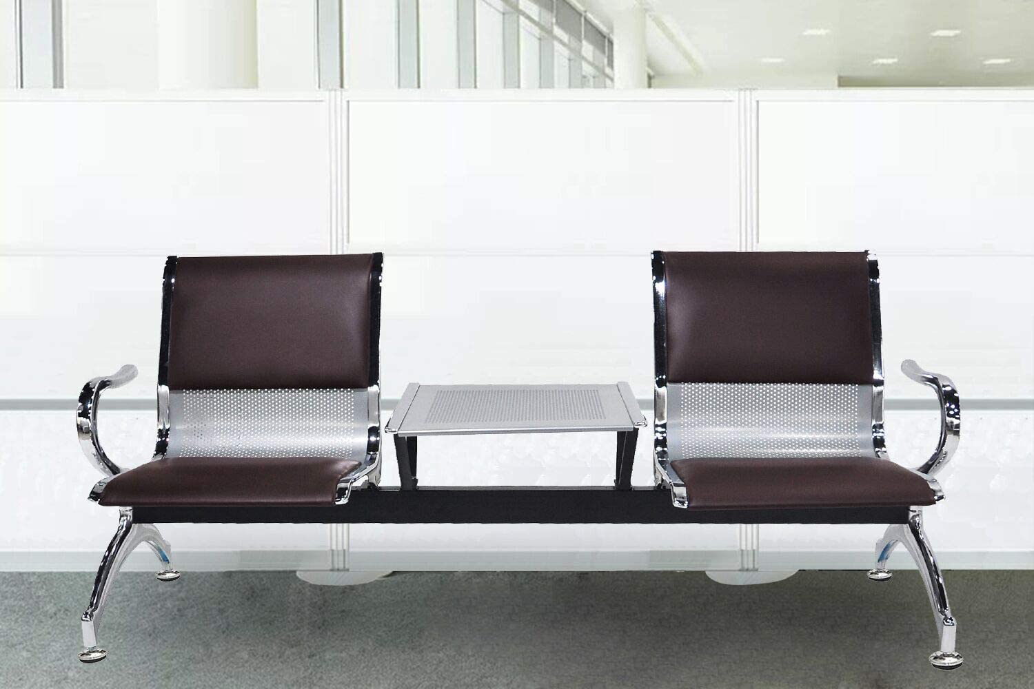 LIK.TOPPER New PU Leather Airport Reception Waiting Chair Office Hospital Bank Bench Furniture 2-Seat W/Table, Brown