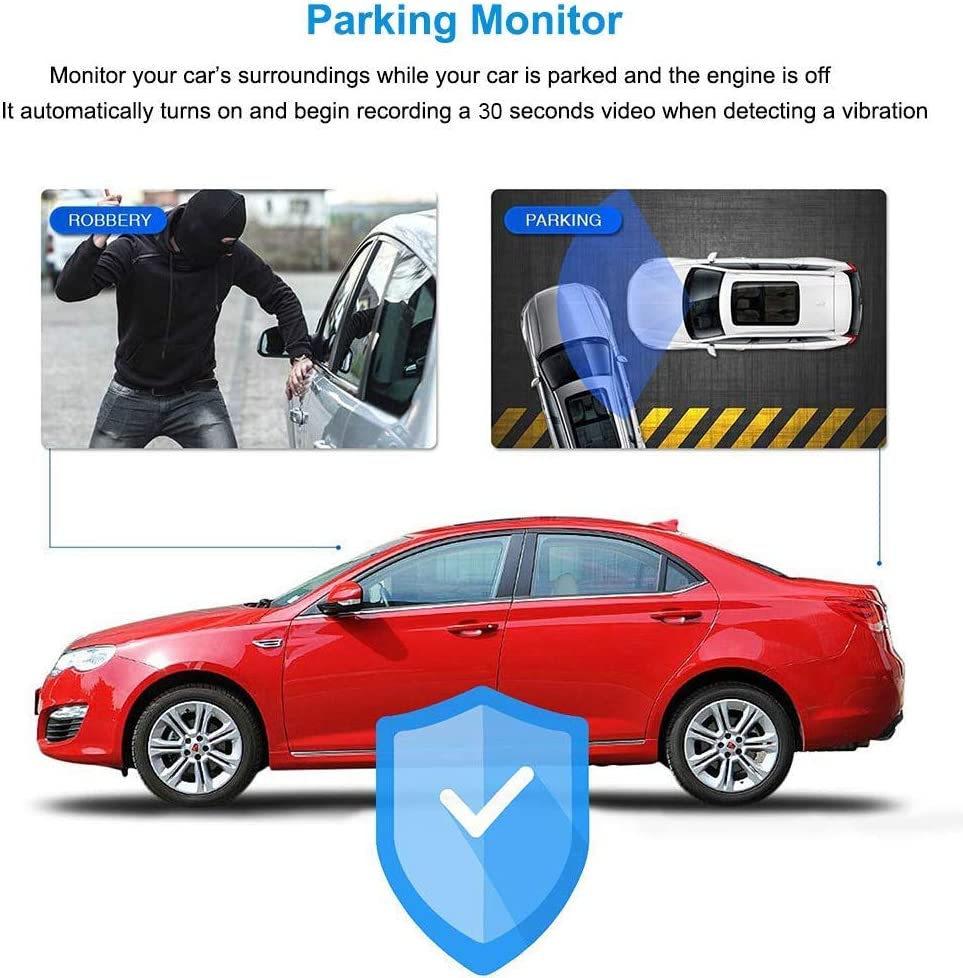 Parking Monitor,G-Sensor Loop Recording Night Vision 7 Mirror Dual Dash Cam Touch Screen Full HD 1080P Front Camera with Waterproof Rear View Camera