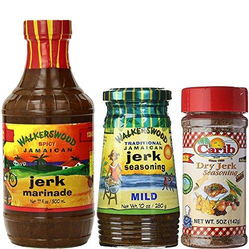 Walkerswood Jamaican Spicy Jerk Marinade MILD Jerk Seasoning and Carib Dry Jerk Seasoning (Pack of 3)