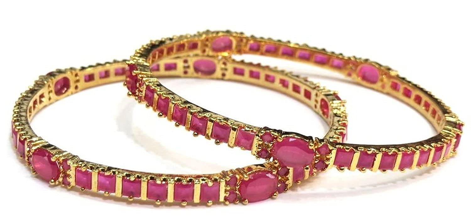 Buy M Creation Gold Ruby Coloured Stone Gold-Plated Bangle Set For ...