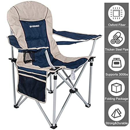 FUNDANGO Folding Camping Chair Outdoor Armchair Portable Camping Gear Oversize with High Back Headrest Breathable, Cup Holder and Armrest Heavy Duty for Backpacking Travel Beach Picnic with Carry Bag