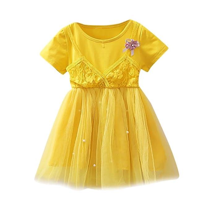 DRESS_start Bebé NiñAs Vestidos Vestido De Falso De Dos Piezas Encaje Princesa Fiestas Boda Bowknot Para