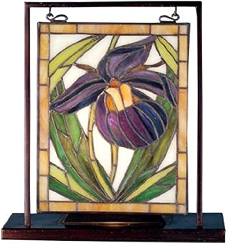 Meyda Tiffany Lady Slippers Lighted Decorative Mini Tabletop Window, 9.5 Width x 10.5 Height