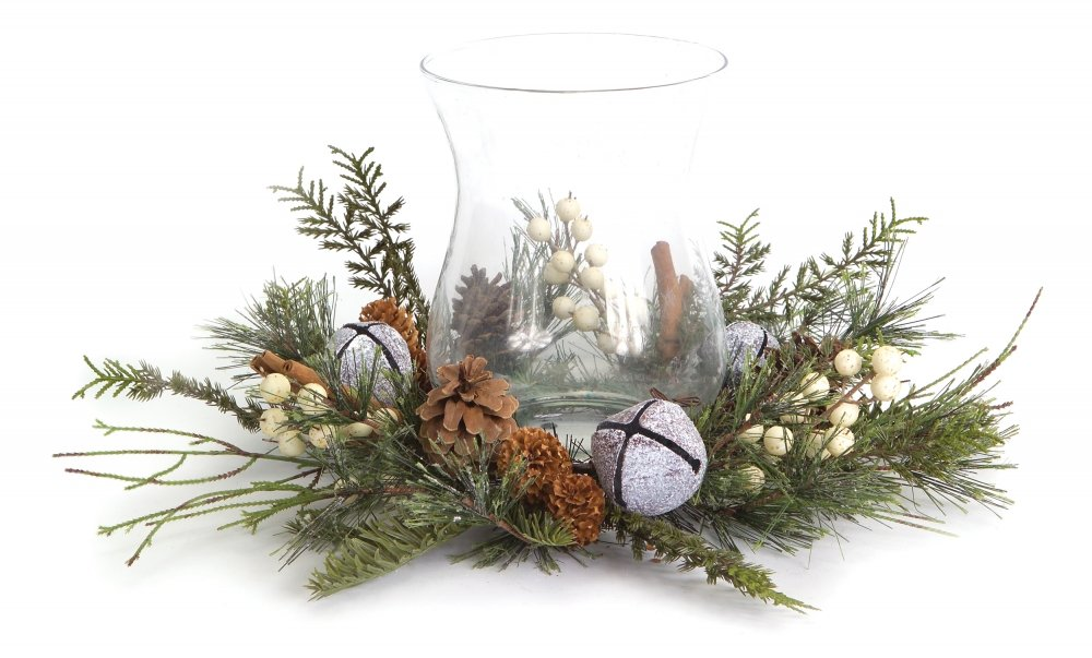 Artificial Pine, Jingle Bell & White Berries Candle Holder