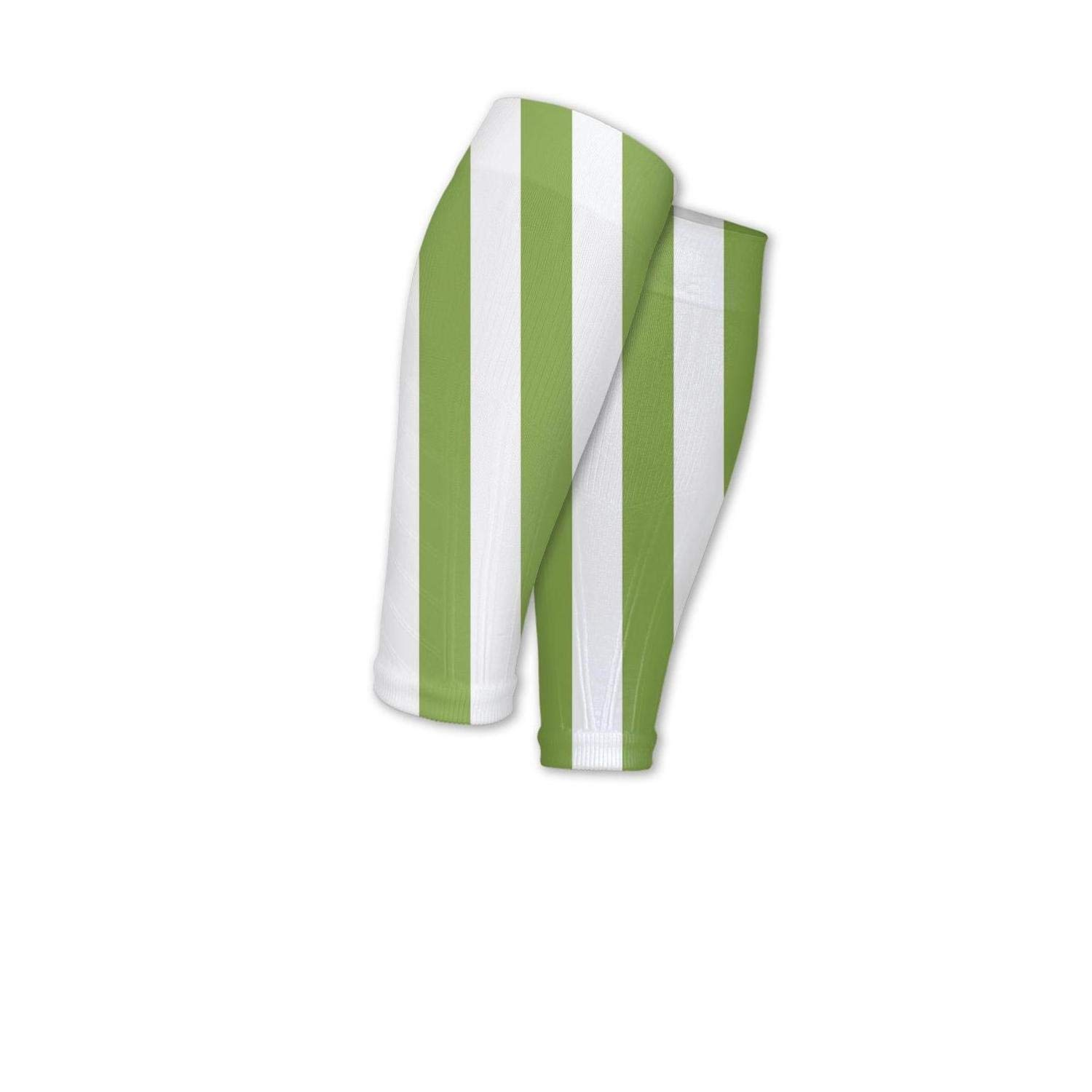 Smilelolly green-and-white-striped Calf Compression Sleeves Helps Pain Relief Leg Sleeves for Men Women