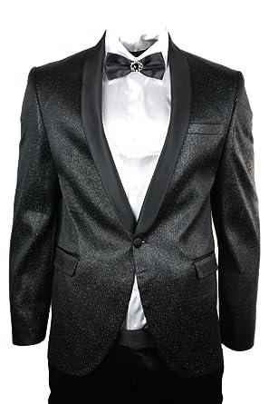 FZ Costume Homme Noir Brillant dîner Smoking Coupe cintrée fêtes Mariages  col châle  Amazon.fr  Vêtements et accessoires 86038293ea2