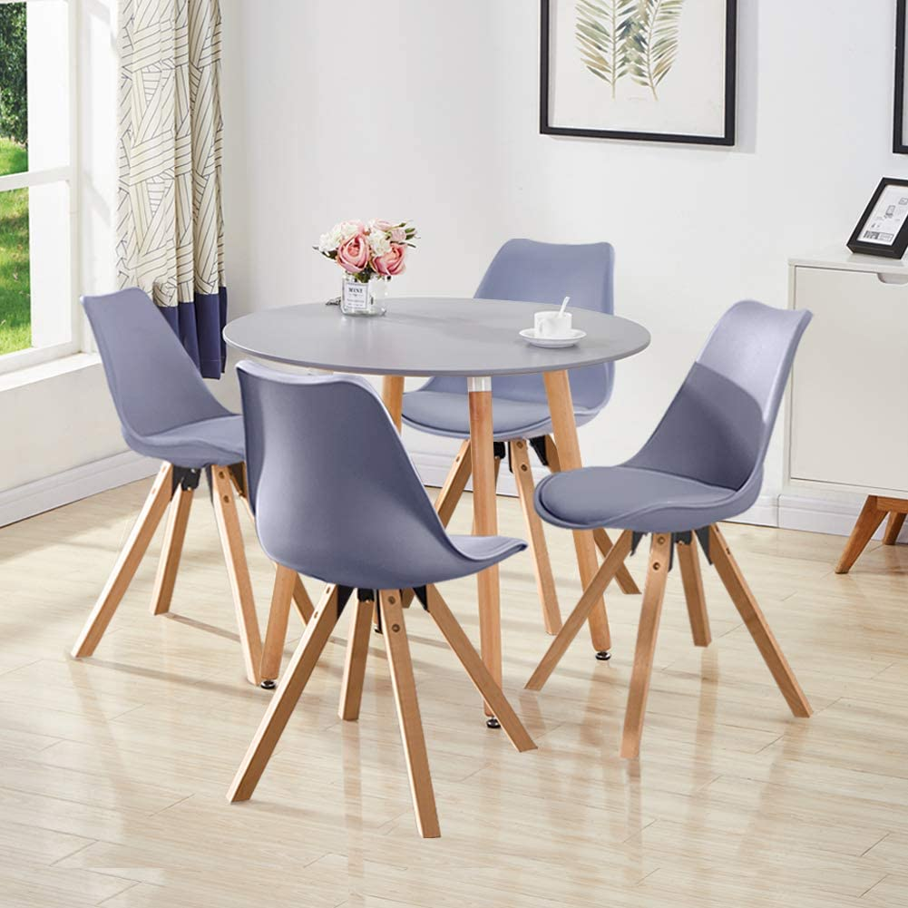 Juego de mesa y sillas de comedor Eiffel de GOLDFAN, juego de 4 mesas de cocina redondas modernas de madera