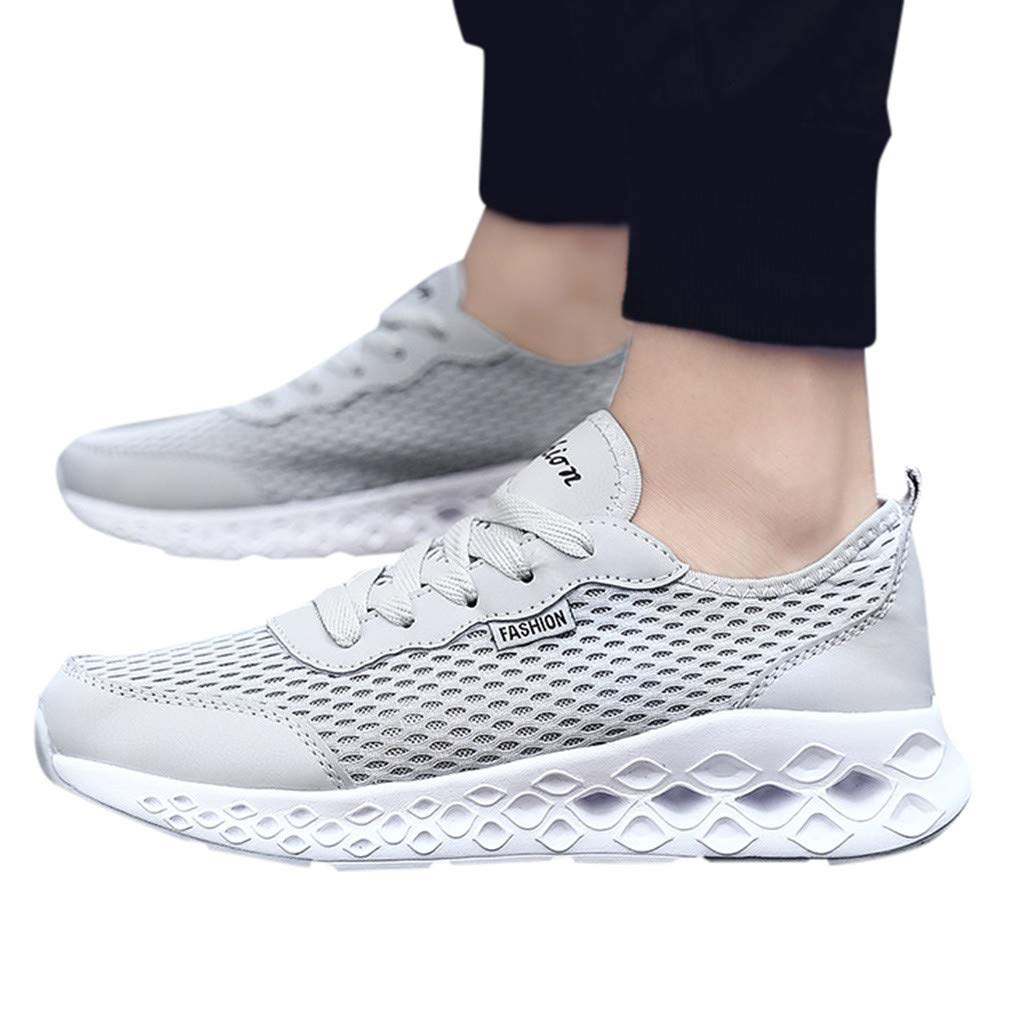 2019 Men Mesh Running Shoes Lace Up Breathable Running Sneakers Sports Shoes for Training Walking Tennis (Gray, US:7.5=Foot Length:25cm/9.8'')