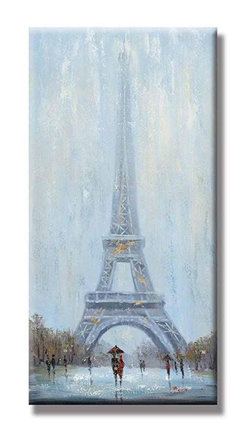 Chadow – paisaje pareja Walk en Eiffel toalla 100% pintado a mano de pintura al