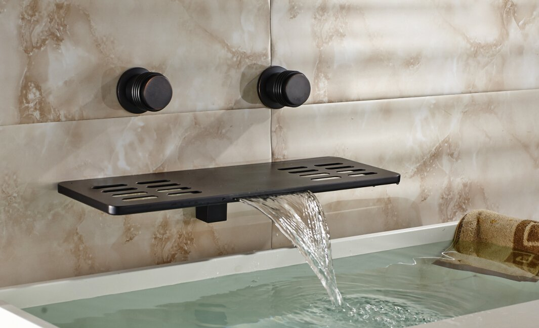 Rozin Multifunction Waterfall Shelf Spout Bathtub Faucet Wall Mount ...