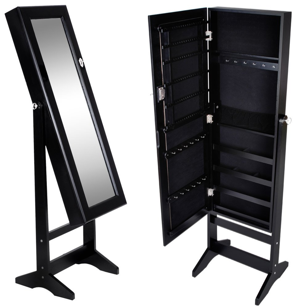 Miadomodo Armadio portagioie specchiera gioielli armadietto organizer con specchio colore bianco ca. 40, 9/139, 5/36, 5 cm SMSK01