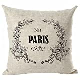 "Throw Pillow Cover, Onker Cotton Linen Square Decorative Throw Pillow Case Cushion Cover 18"" x 18"" Paris French Market No.4 1932 Royal Sign"