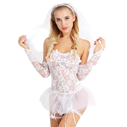 8d959478f5b2a Image Unavailable. Image not available for. Color  ACSUSS Women s Sheer  Mesh Lace Costume Bride Outfit Babydoll Sexy Lingerie Set