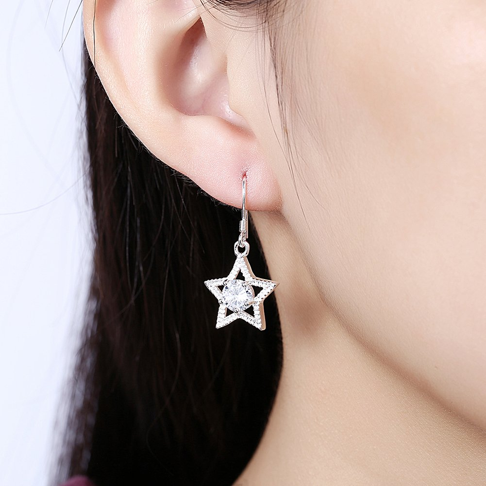 925 Silver with Sparking Cubic Zirconia Drop Earrings Soonvinia Star Fish Hook Earrings for Women and Girls