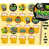 Plants vs Zombies Video Game Double-sided Images Cupcake Picks Cake Topper -12