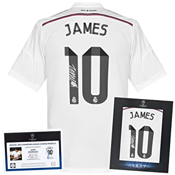 81fbdb7dde2 Official UEFA Champions League James Rodriguez Signed Real Madrid Home Shirt  14-15 - (Fan Style) Deluxe Packaging - One Size  Amazon.co.uk  Sports   ...