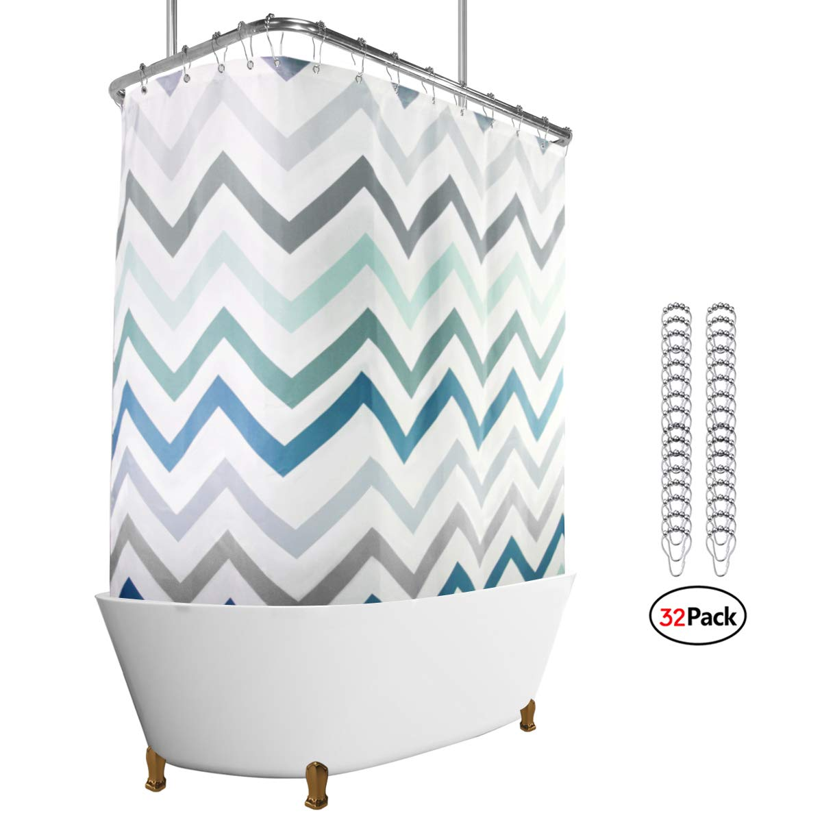Riyidecor Clawfoot Tub Shower Curtain Panel 180x70 Inch All Wrap Around Polyester Fabric Set Chevron Extra Wide Waterproof with 32 Pack Metal Shower Hooks