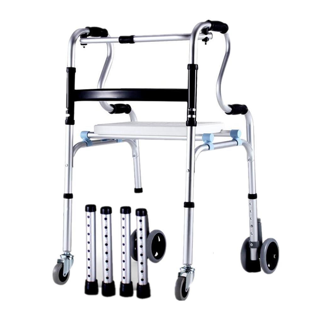 Multifunzione per deambulatore pieghevole leggero in alluminio con ruote–regolabile in altezza con sedile puleggia applicabile al anziani, disabili, donne incinte etc wexe.com