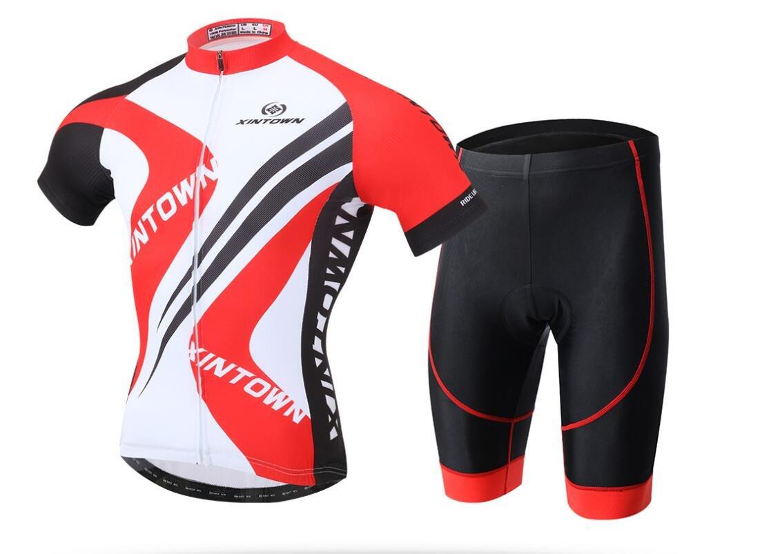 DUBAOBAO Xintownmen Herren Shorts und Reitset Summer-Road Bike Outdoor-Sportbekleidung Kurzärmel-Reitset + 3D Gepolsterte Shorts-Rot Blau