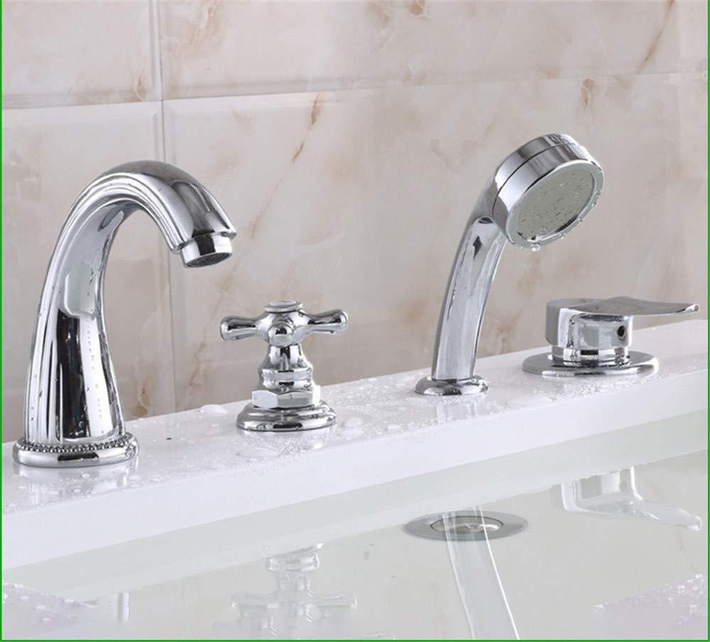 Hlluya Professional Sink Mixer Tap Kitchen Faucet Bath Faucet 4-Hole Full Copper Sitting in line Split Shower Set 4-Piece Set
