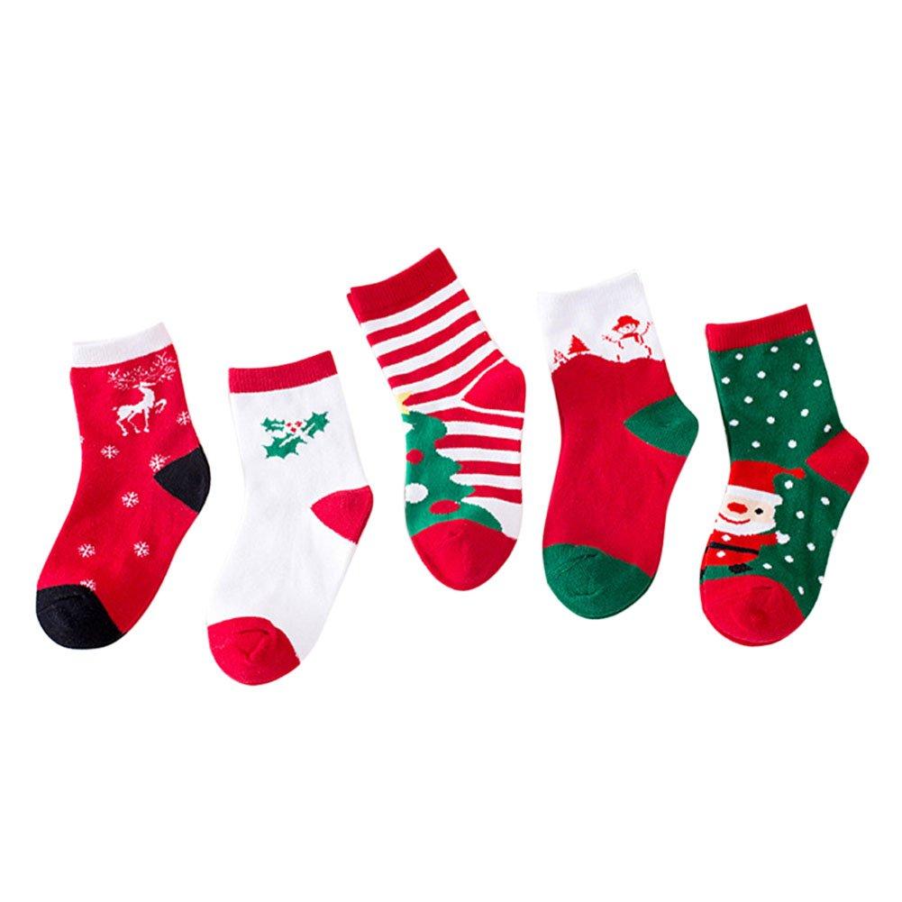 LAEMILIA 5 Pack Anti-slip Ankle Socks for infants toddlers babies Girls Kids Cartoon Cotton Soft Sock Christmas Holiday