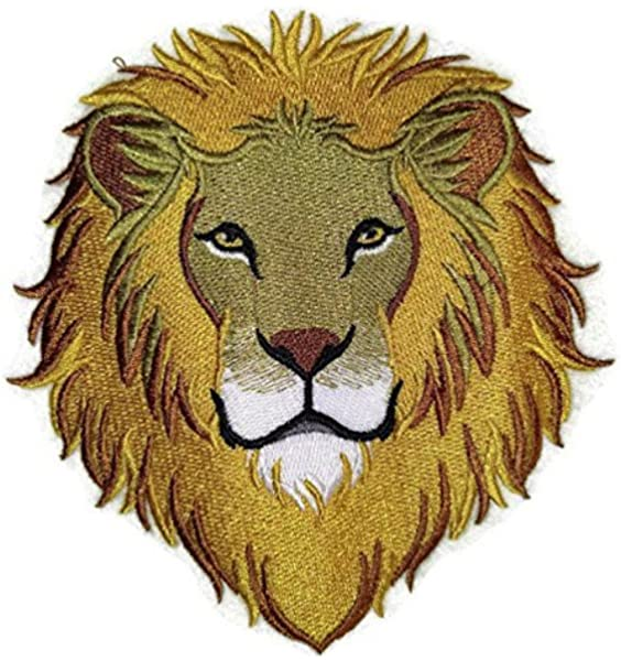 LION HEAD Iron on Patch Wild Animal Jungle Zoo Seing on Applique Embroidery DIY