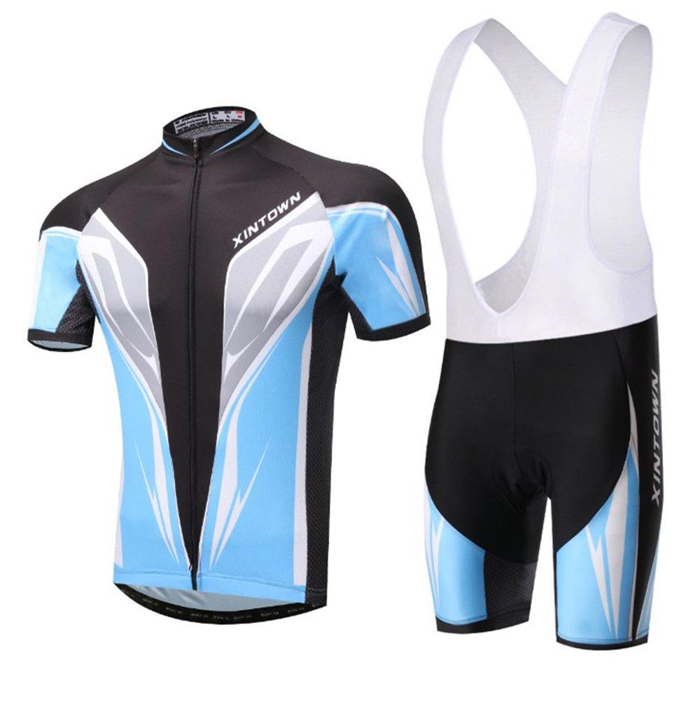 Baymate Herren Komfortabel Fahrrad Trikot Radtrikot Shirts + Radhose Fahrradbekleidung 2pcs Reitkleidung Set