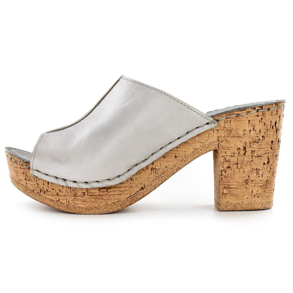 Amazon.com | White Mountain 'BANKROLL' Women's Leather Mule, Grey - 8 M |  Mules & Clogs
