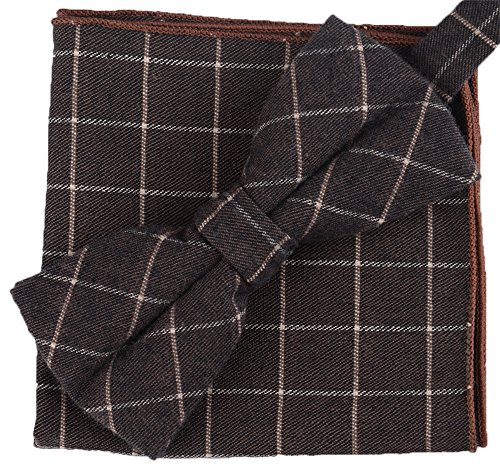 Flairs New York Gentleman's Winter Collection Bow Tie & Pocket Square Matching Set (British Brown / Tan [Tweed])