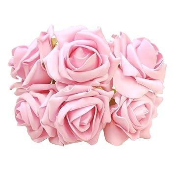 6 Pcs Eva Kunstblume Blumenstrauss Fuer Hochzeit Rosa Weiss Amazon