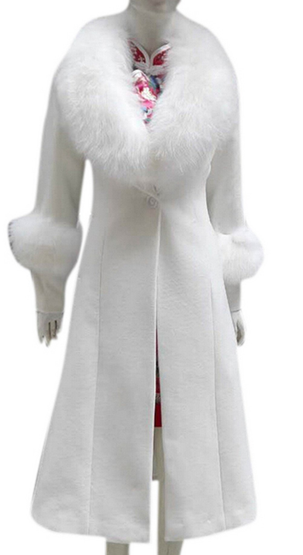 AZIZY Women's Wool Long Parka Fur Collar Cocktail Slim Casual Trench Coat White L