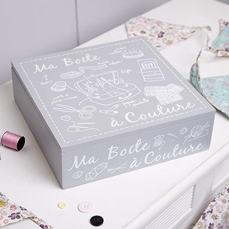 Beautiful accesorios caja de almacenamiento, caja de costura de costura gris estilo francés de madera