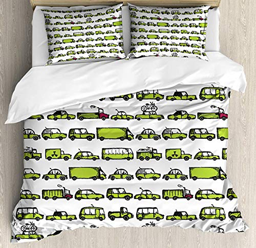(Crystal Emotion Cars 4Pieces Home Comforter Bedding Sets Duvet Cover Sets Bed Sheet Bedspread for Adult Kids,Flat Sheet,Pillow Shams Set, Queen Size)