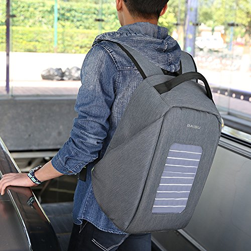 Solar Powered Charger Backpack,Polyester Waterproof Outdoor Travel Camping Rucksack Anti-theft 16'' Business Laptop Backpack (Grey) by BAIBU (Image #6)