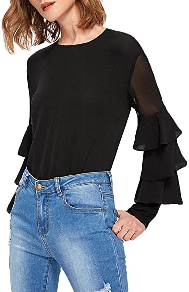 Holacha Camiseta Negra para Mujer, Camisa Blusa de Manga ...