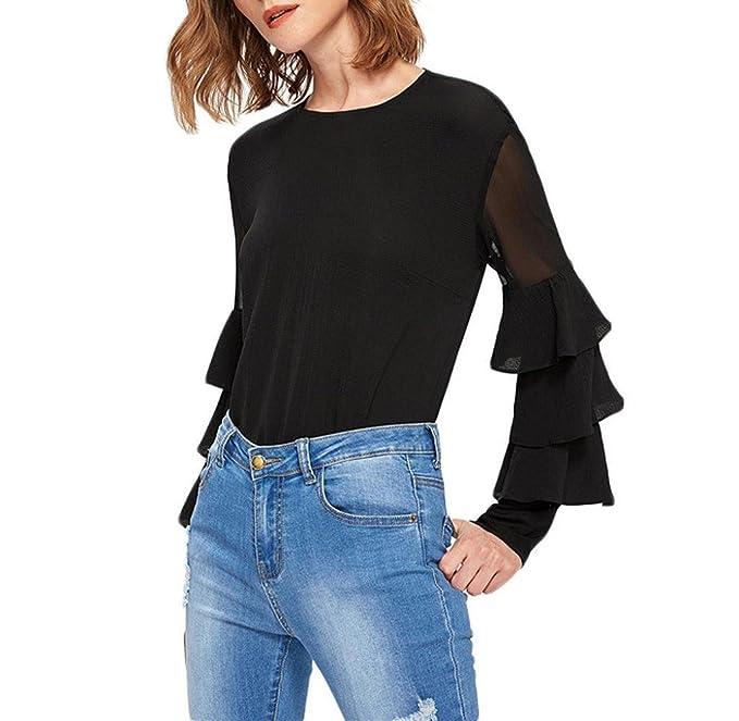 Holacha Camiseta Negra para Mujer, Camisa Blusa de Manga Volantes Abocinadas Cuello Redondo Moda Casual