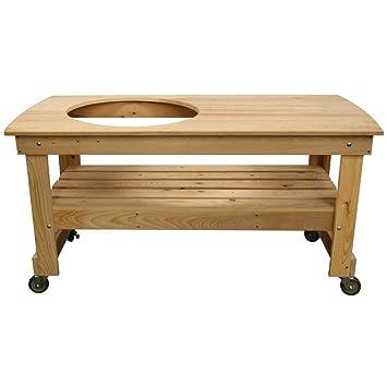 Vision Grills Large Offset Cypress Kamado Table Vg Htclou1 Kamado Table