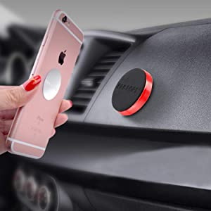 FABPOPS Universal Anywhere Magnet car Phone Mount Magnetic Smartphone Holder for iPhone Samsung LG Sony iPhone Xs iPhone 8 Plus Galaxy Note 9 (Red)