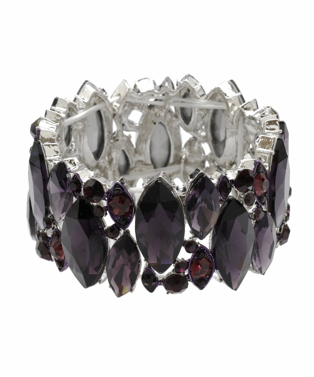DK FASHION Aurora Borealis Crystal Stretch Bracelet - One Size Fits Most for Prom, Bridesmaids, and Weddings (Silver/Purple)