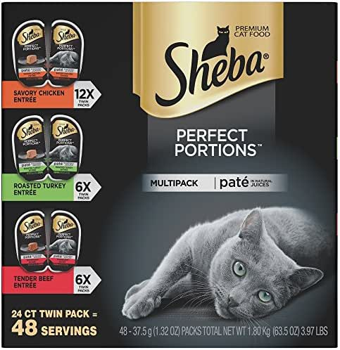 SHEBA PERFECT PORTIONS Soft Wet Cat Food Paté in Natural Juices Savory Chicken, Roasted Turkey, & Tender Beef Entrées Variety Pack, (24) 2.6 oz. Easy Peel Twin-Pack Trays